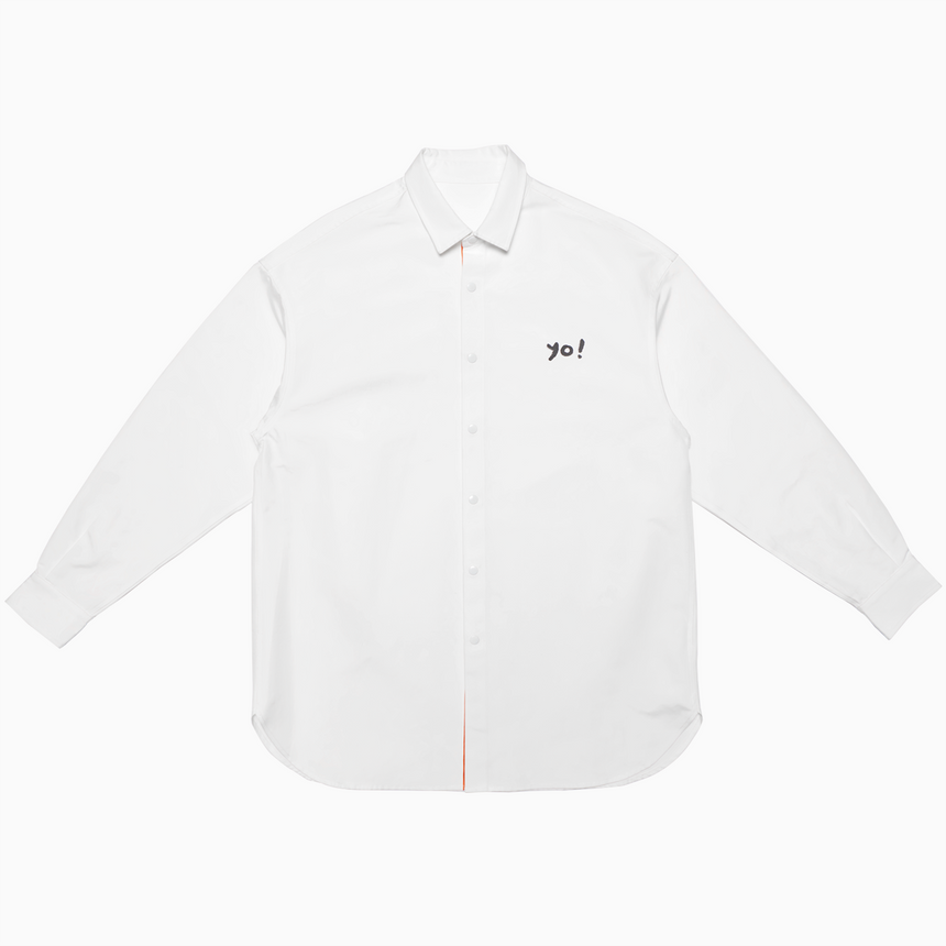 Yuu Have Me Script Button Up Shirt Jacket (White)