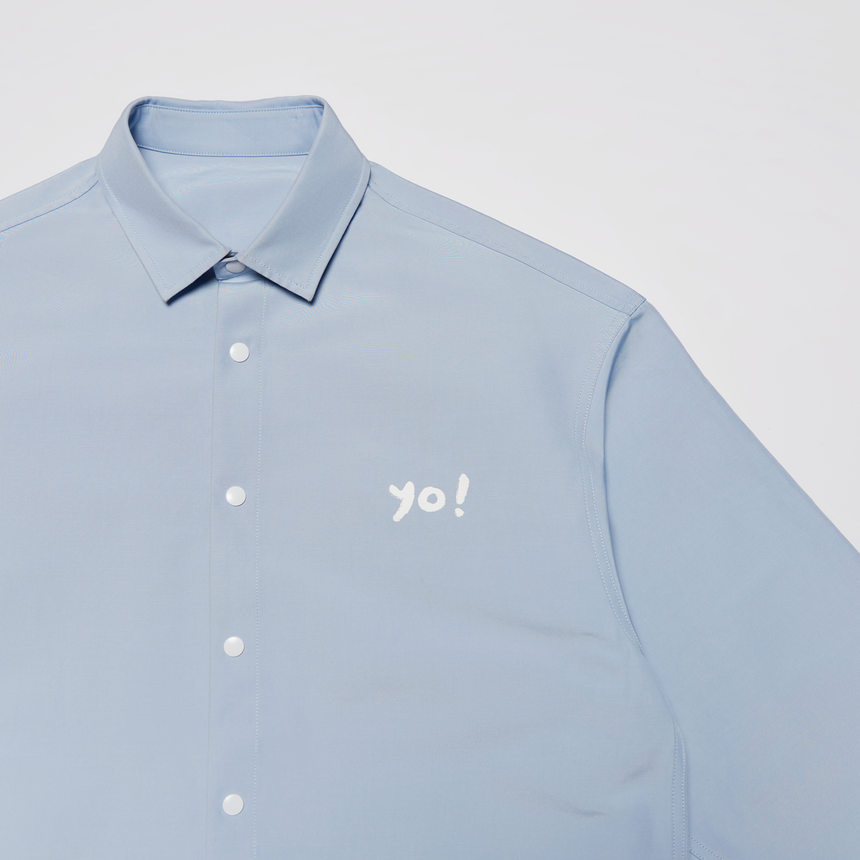 Yuu Have Me Script Button Up Shirt Jacket (Office Blue)