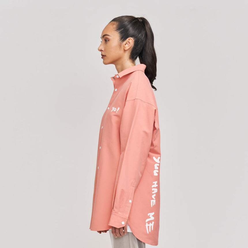 Yuu Have Me Script Button Up Shirt Jacket (Coral Pink)