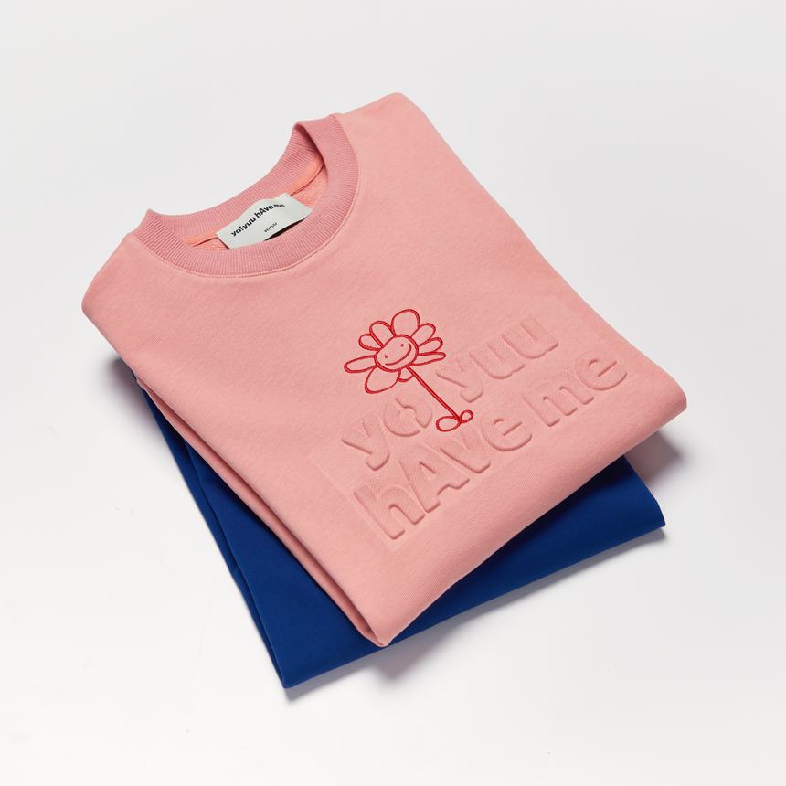 Flower Charm Embossed Pullover Crewneck (Coral)