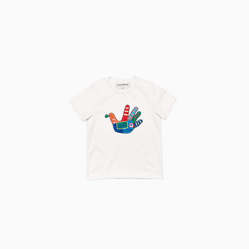Lucca Embroidered Dove Kids SS T-Shirt (Off White)