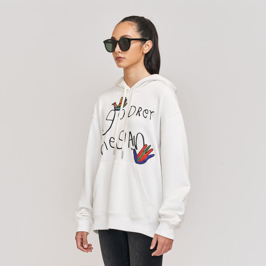 Beautiful Dreamer Embroidered L/S Hoodie (White)