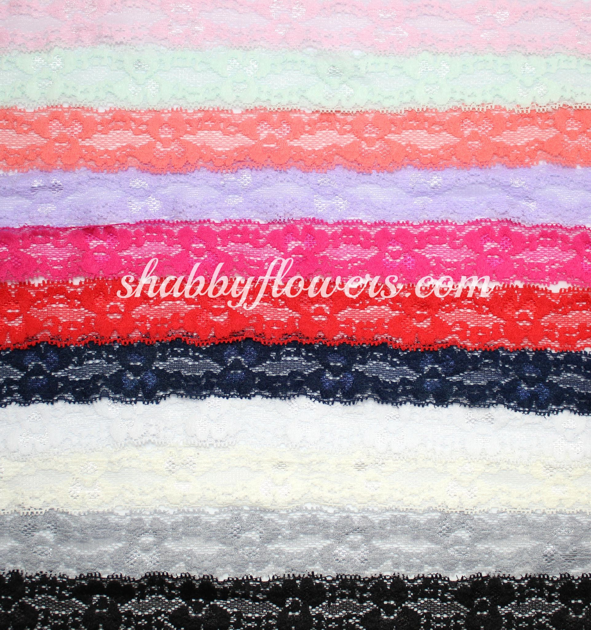 "1"" Lace Elastic Pack of 10 Colors - shabbyflowers.com"