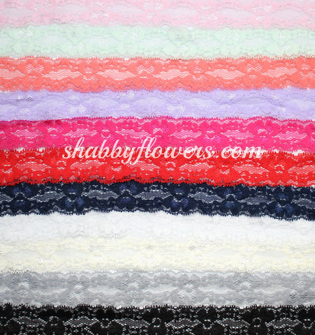 "1"" Lace Elastic Pack of 10 Colors"