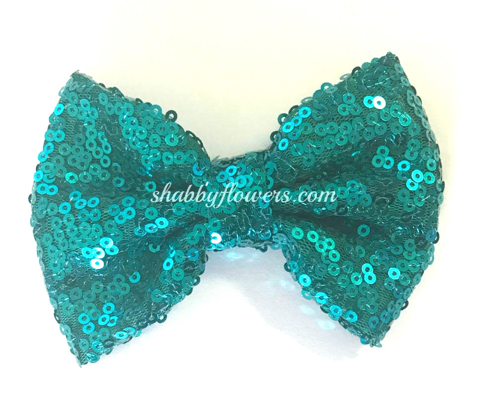 Large Sequin Bow - Peacock - shabbyflowers.com