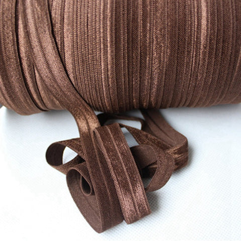 Solid Foldover Elastic - Brown