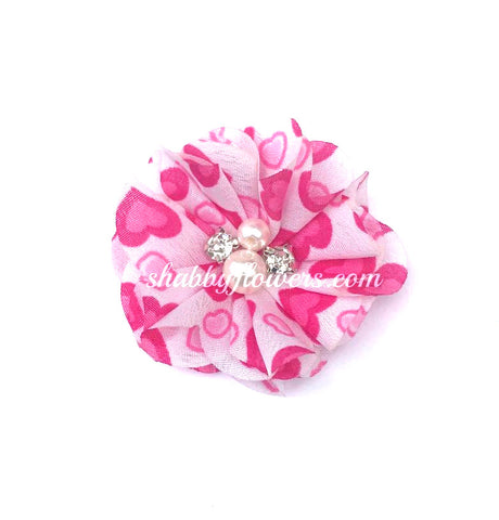 Pearl & Rhinestone Flower - Big Hot Pink Hearts