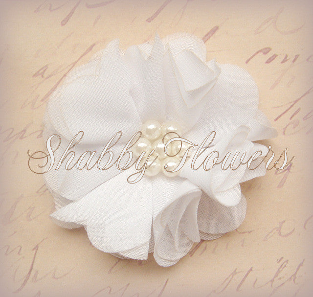 Chiffon Pearl Flower - White - shabbyflowers.com
