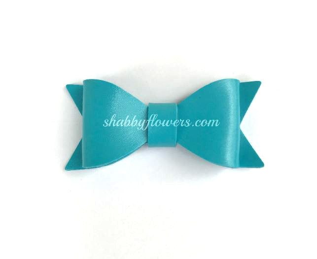 Faux Leather Bow - Light Blue - shabbyflowers.com