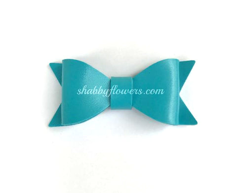Faux Leather Bow - Light Blue