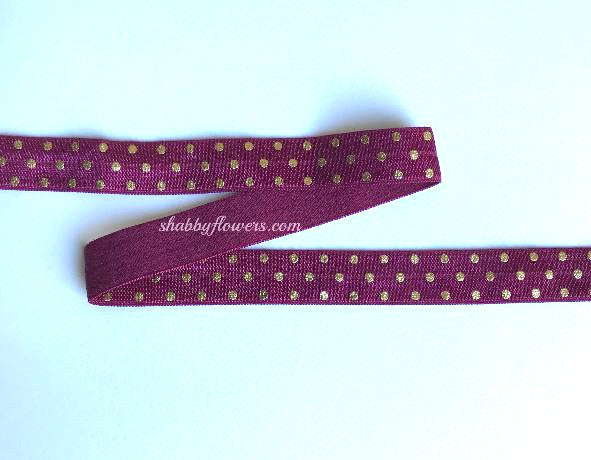 Elastic - Gold Foil Dots on Burgundy - shabbyflowers.com
