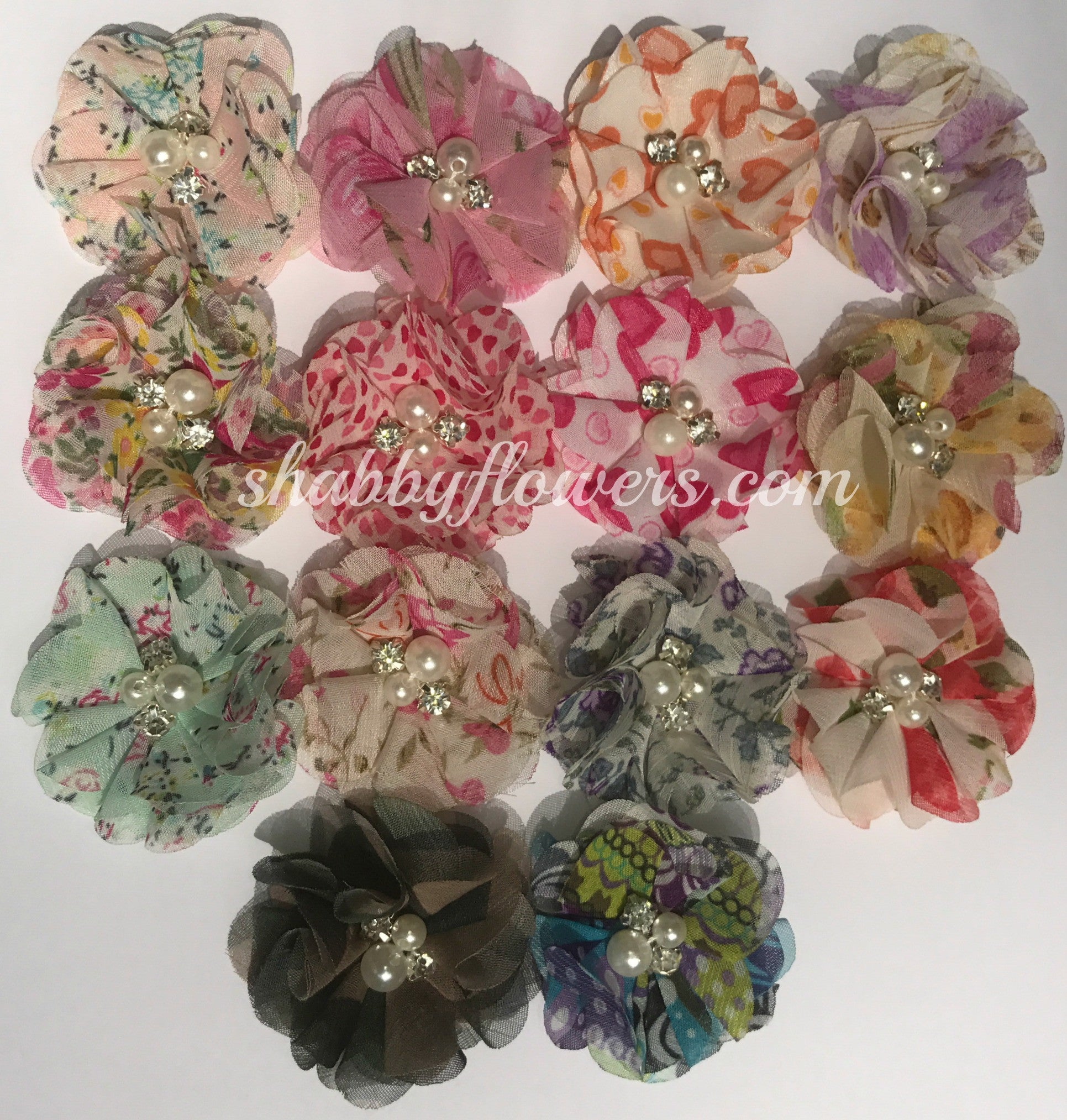 Pearl & Rhinestone Printed Flower - Grab Bag of 5 flowers - shabbyflowers.com