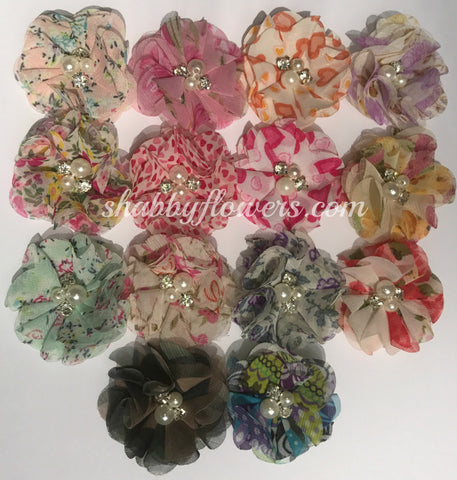 Pearl & Rhinestone Flower - Grab Bag of 5 flowers