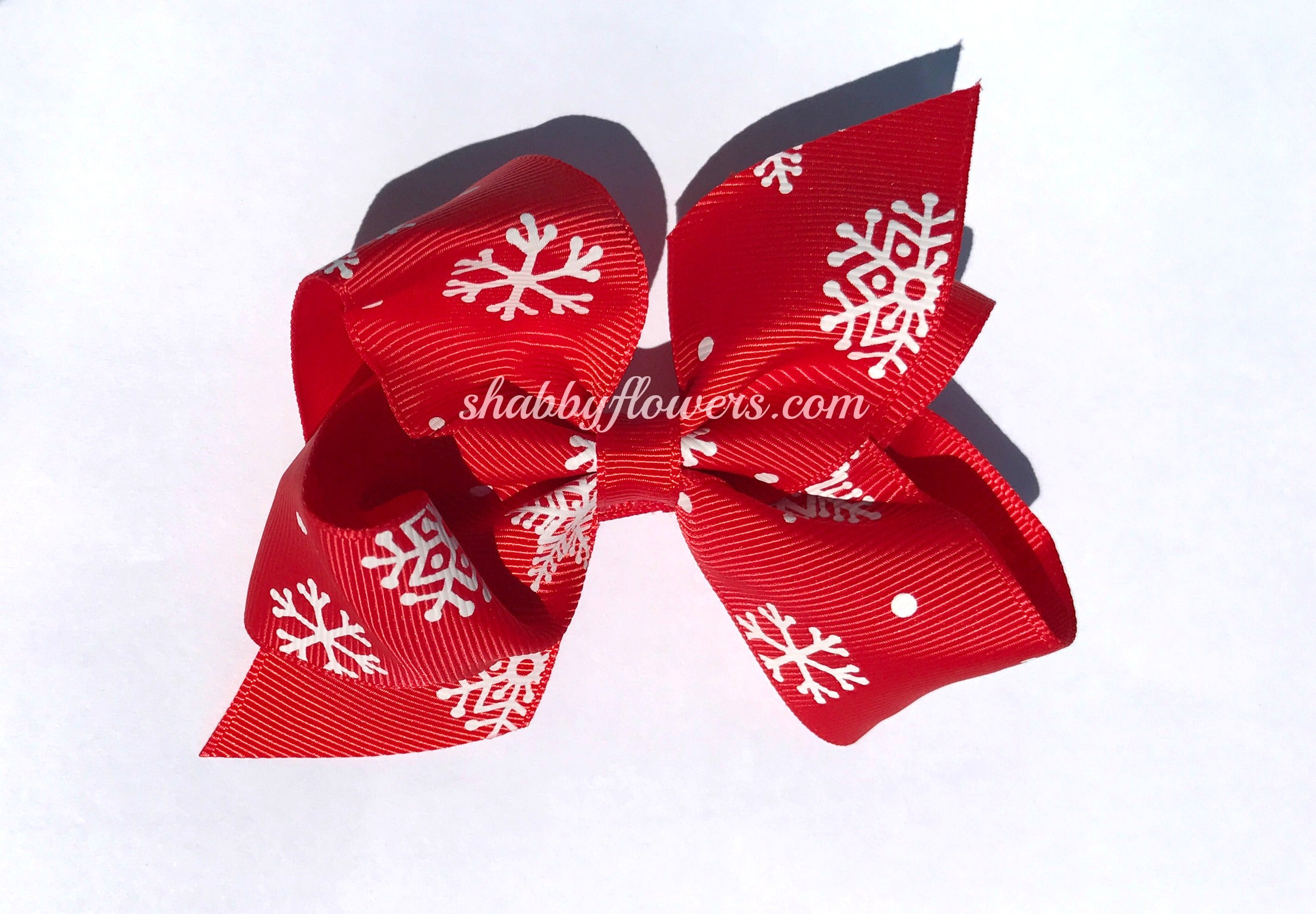 Grosgrain Bow with clip - Red with White Snowflakes - shabbyflowers.com
