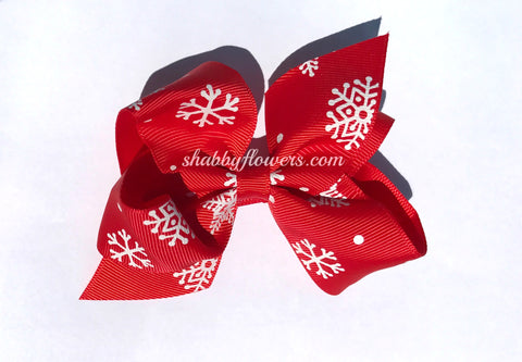 Grosgrain Bow with clip - Red with White Snowflakes