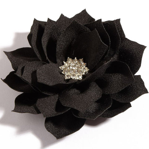 Lotus Rhinestone Flower - Black