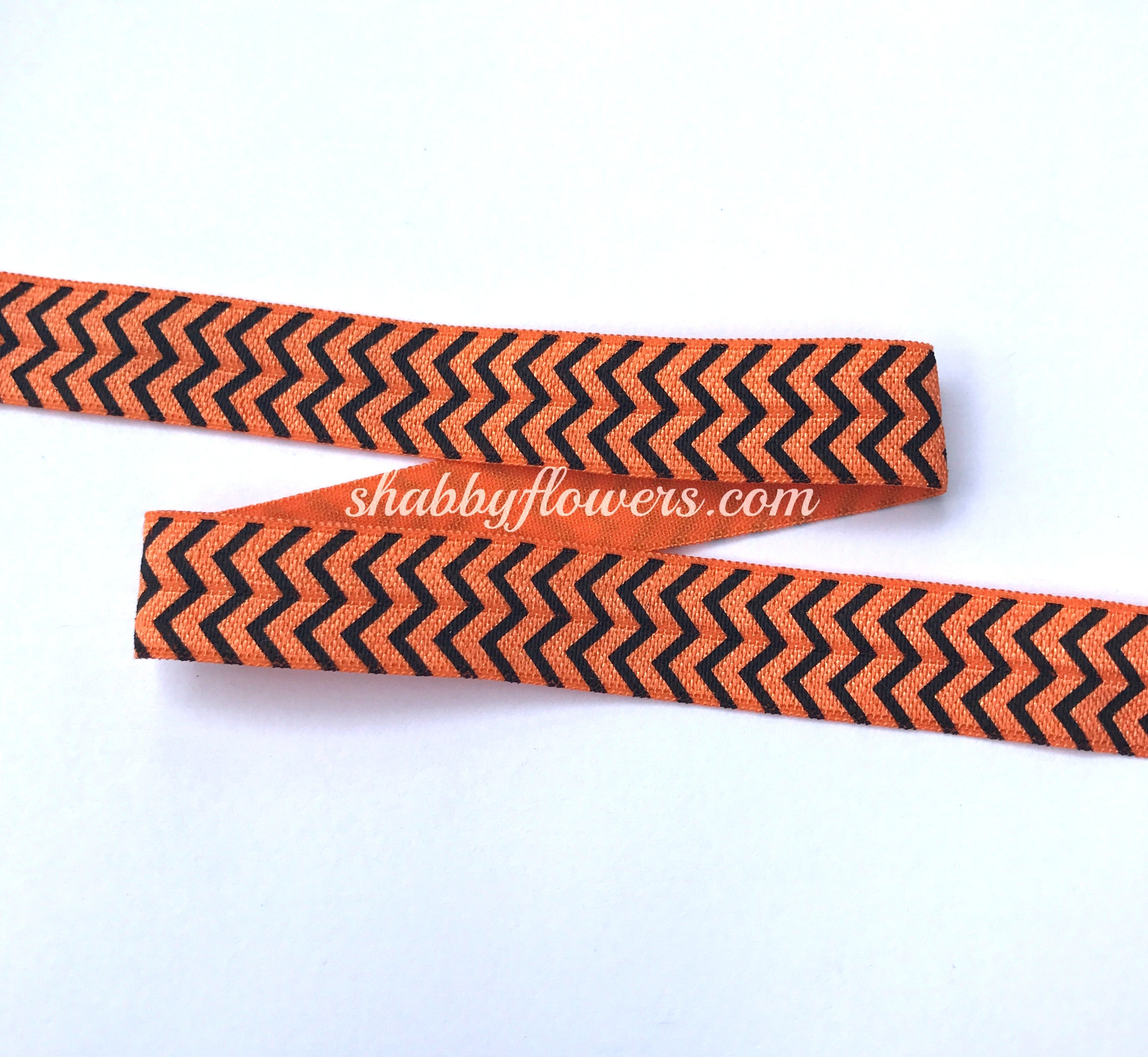 Elastic - Orange and Black Halloween Chevron - shabbyflowers.com