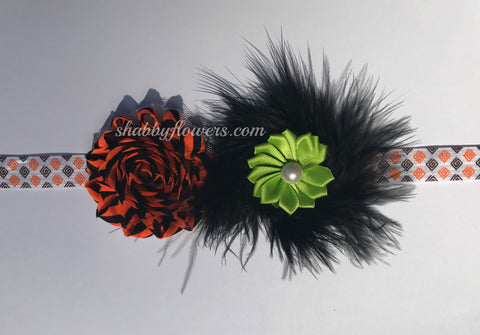 Small Headband Kit - Halloween with Marabou Feather Puff