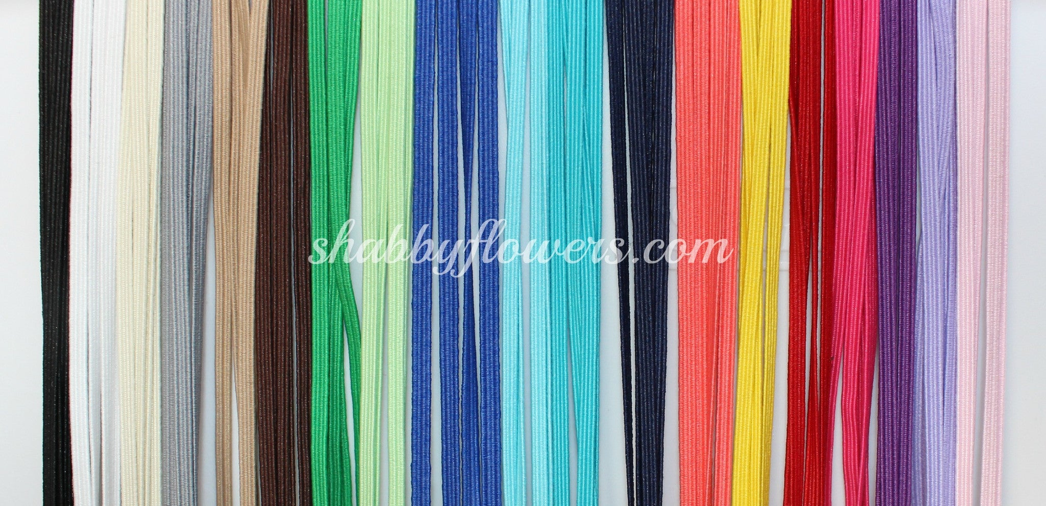 Elastic Pack - Skinny Elastic Pack of 20 Colors (5 yards each color) - shabbyflowers.com