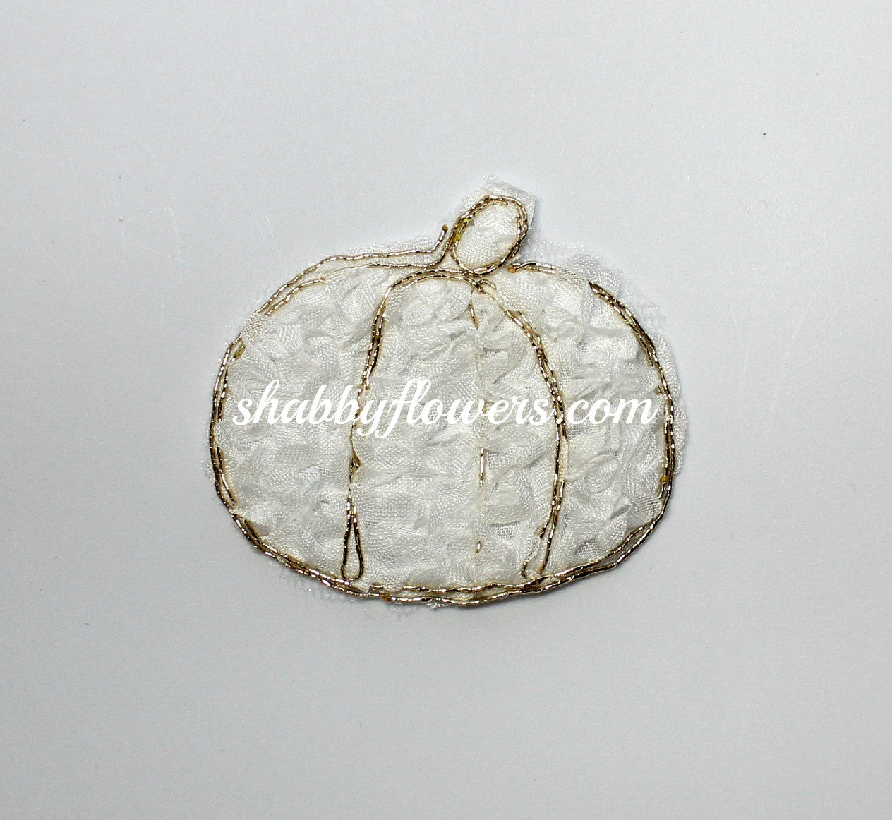 Shabby Pumpkin Applique - White - shabbyflowers.com