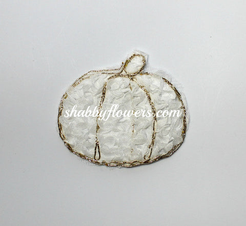 Shabby Pumpkin Applique - White