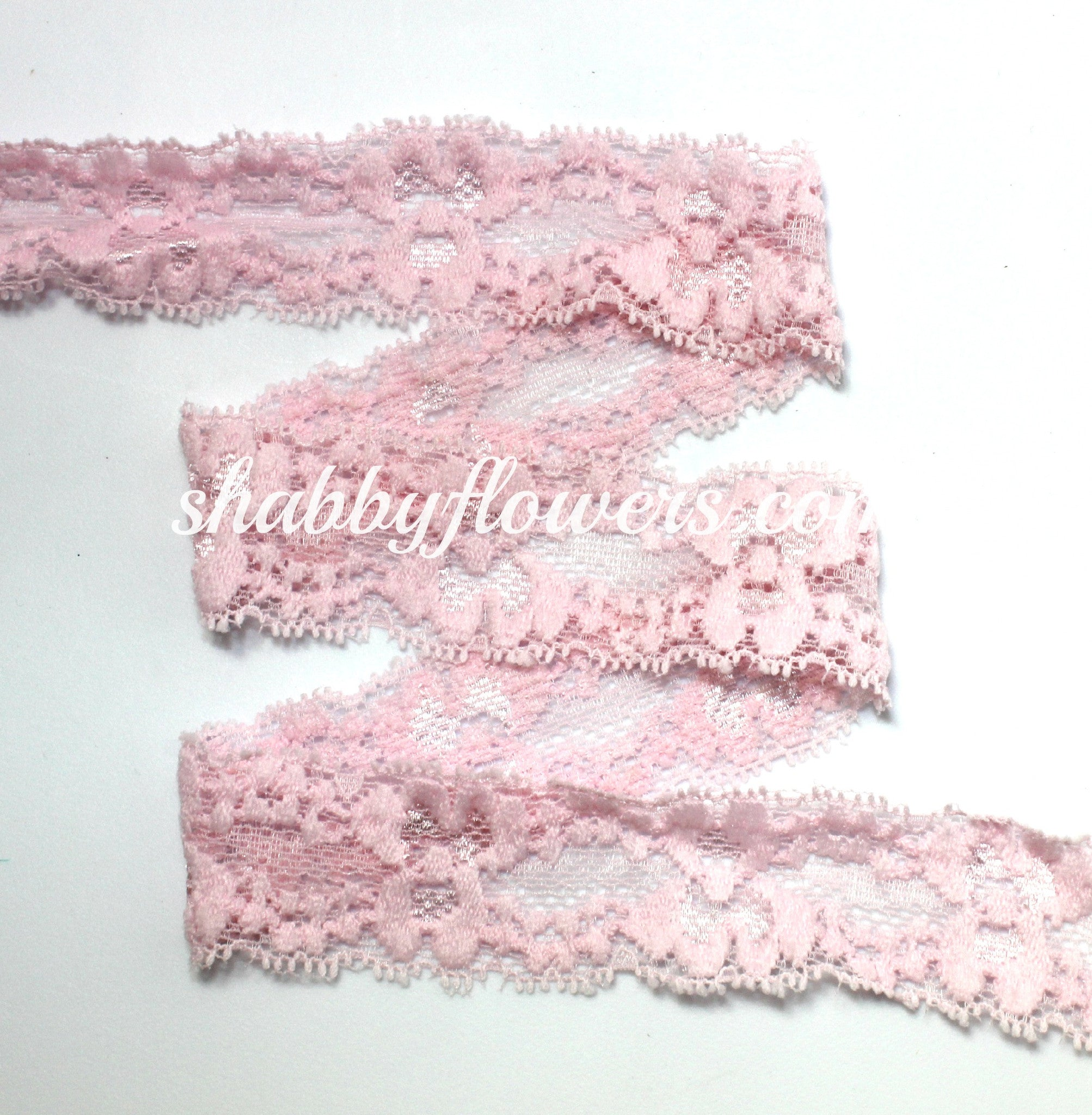 "1"" Lace Elastic - Whisper Pink - shabbyflowers.com"