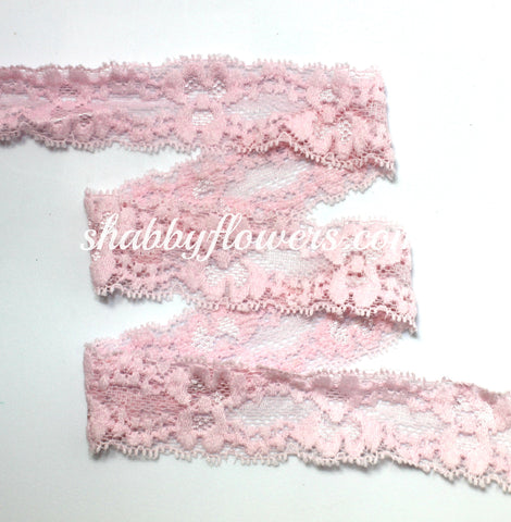 "1"" Lace Elastic - Whisper Pink"