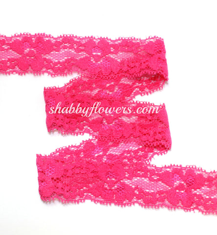 "1"" Lace Elastic - Hot Pink"