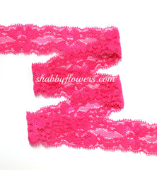 "1"" Lace Elastic - Hot Pink - shabbyflowers.com"