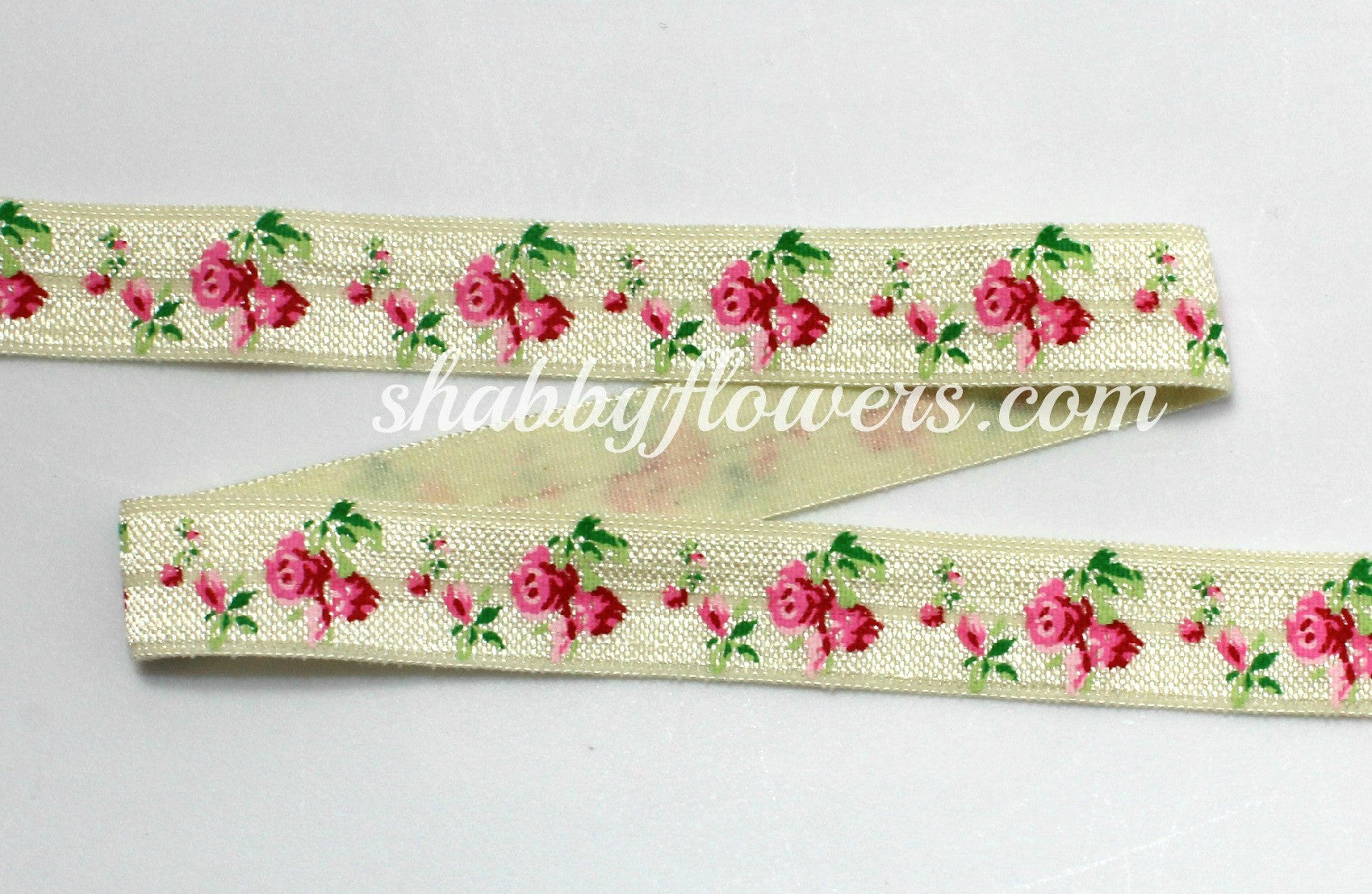 Elastic- Rose on Ivory - shabbyflowers.com