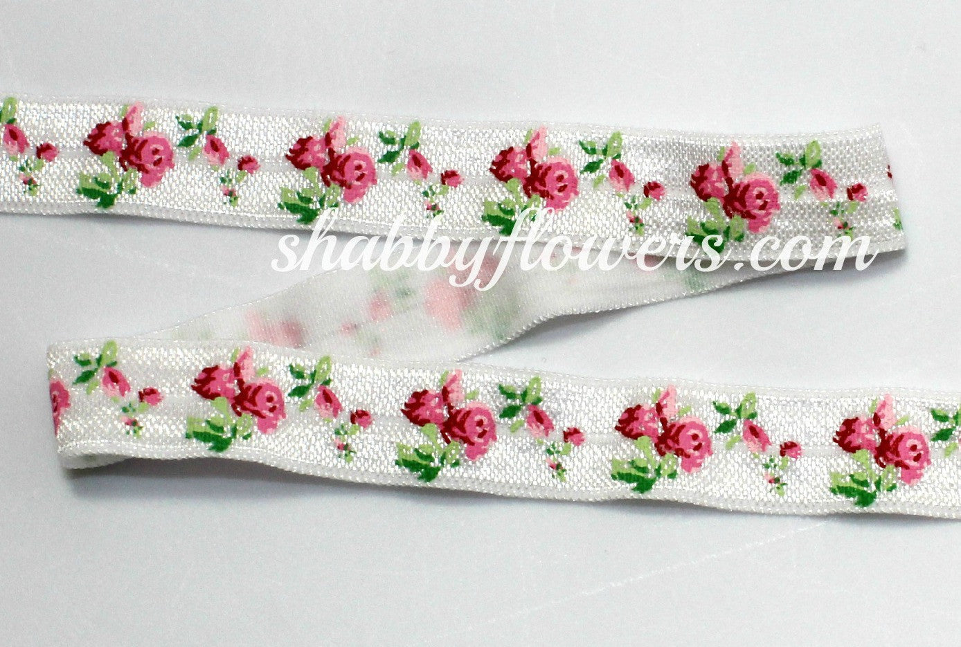 Elastic- Rose on White - shabbyflowers.com