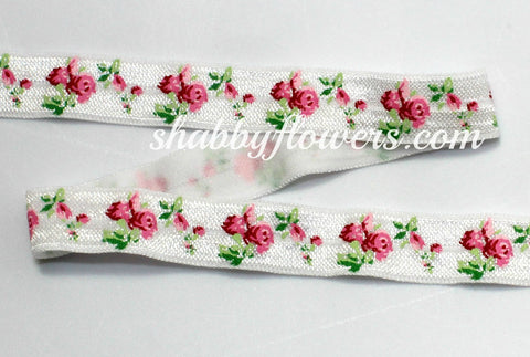 Elastic- Rose on White