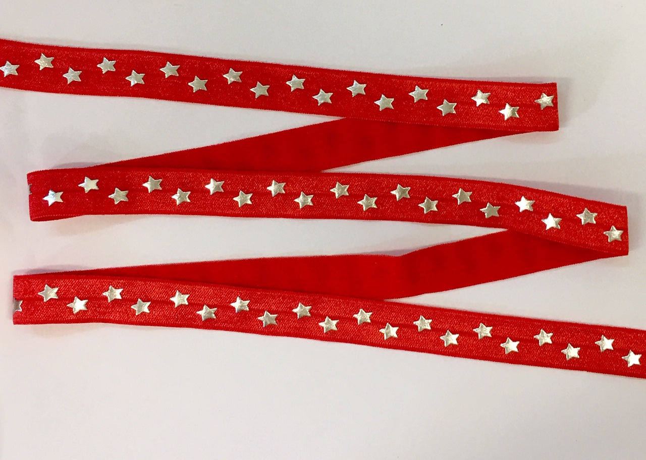 Elastic - Silver Foil Stars on Red - shabbyflowers.com