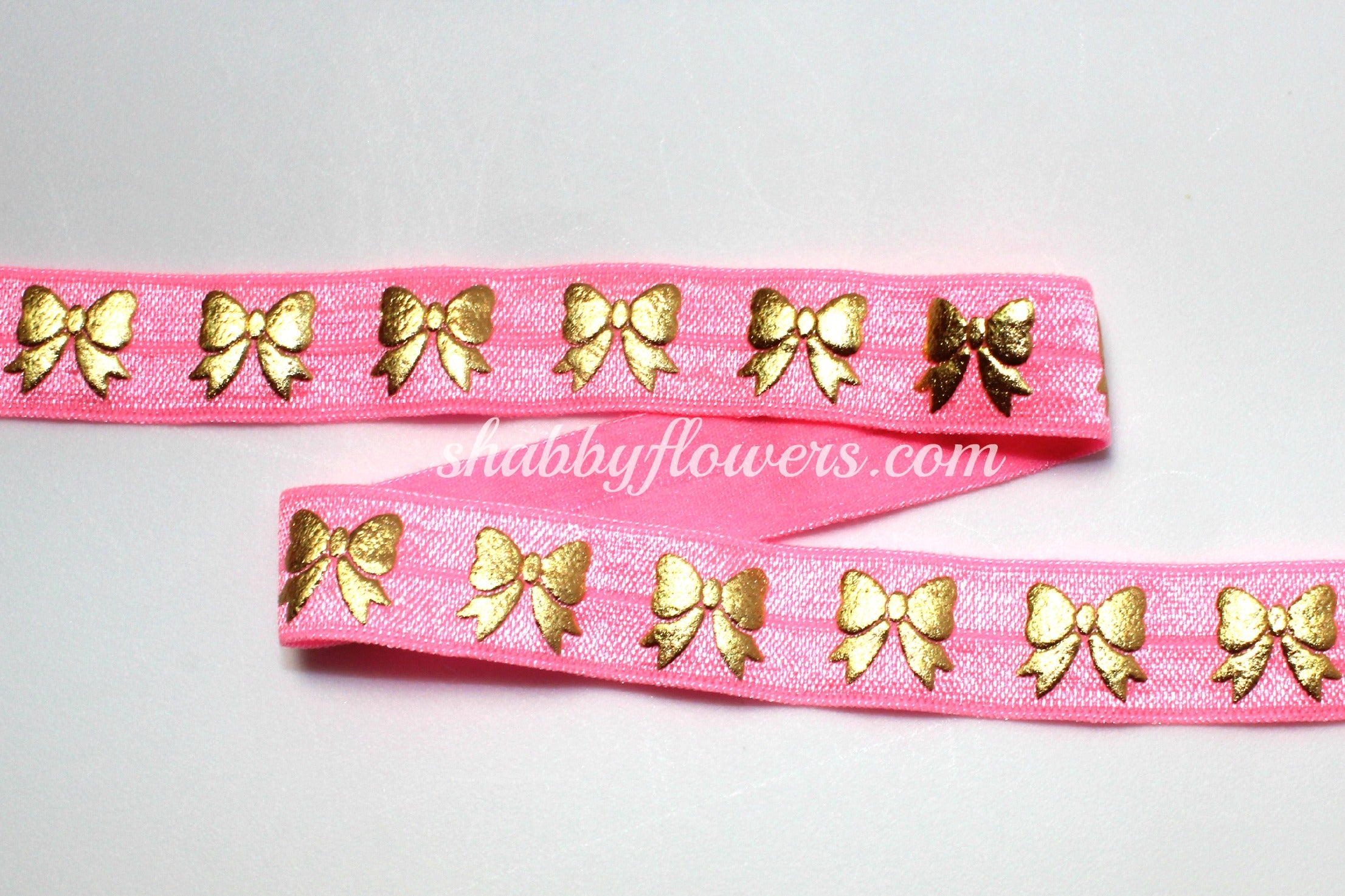 Elastic - Gold Foil Bow on Pink - shabbyflowers.com