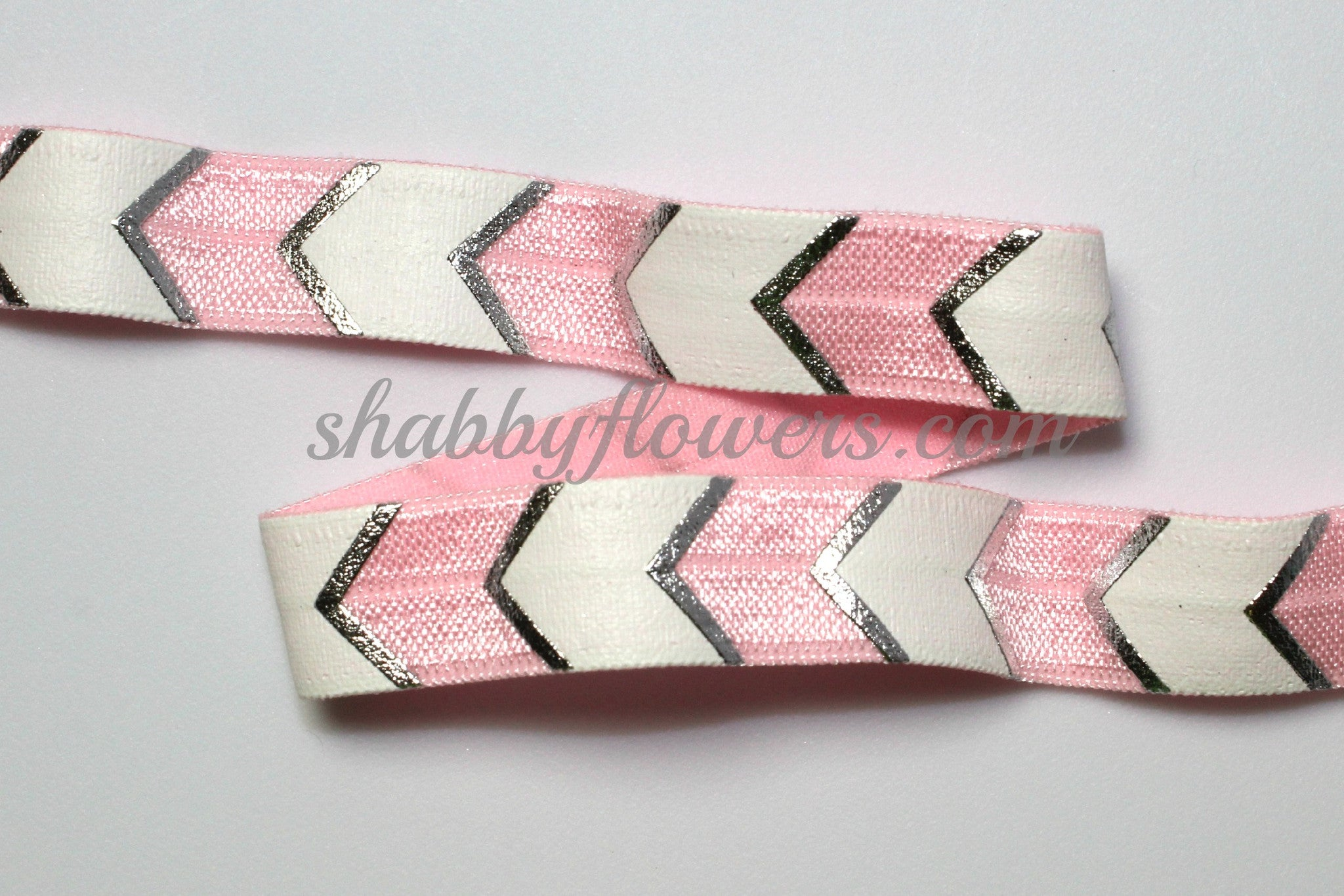 Elastic- Silver Foil /White Chevron on Light Pink - shabbyflowers.com