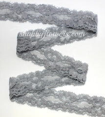 "1"" Lace Elastic - Gray - shabbyflowers.com"