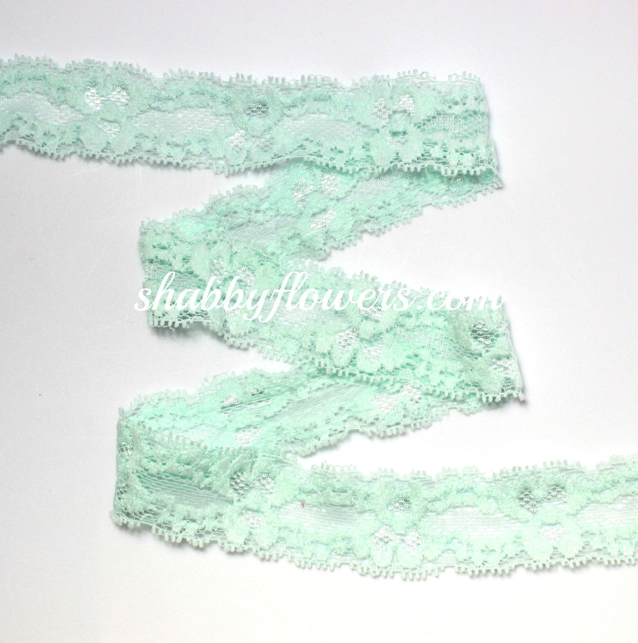 "1"" Lace Elastic - Mint - shabbyflowers.com"