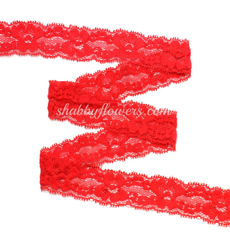 "1"" Lace Elastic - Red"