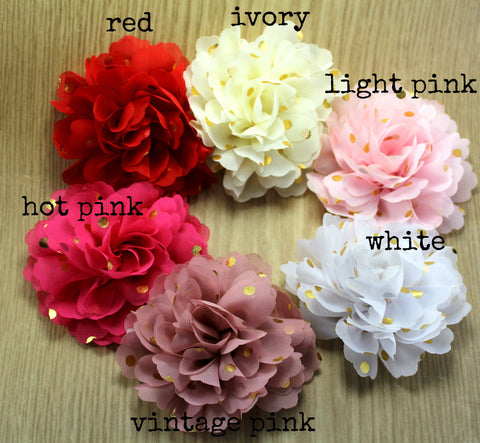 Chiffon Gold Dot Flower