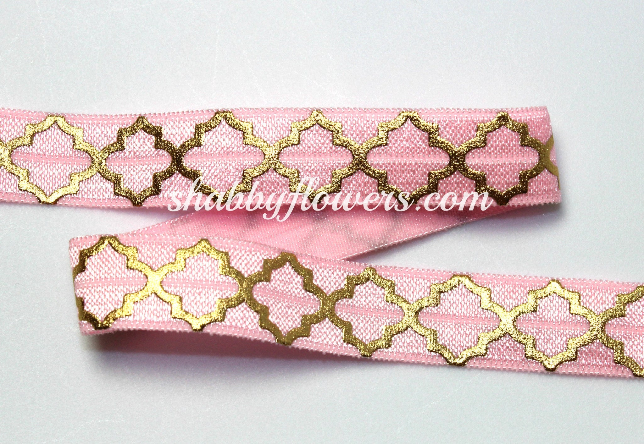 Elastic- Gold Foil Quatrefoil on Light Pink - 5 yards - shabbyflowers.com