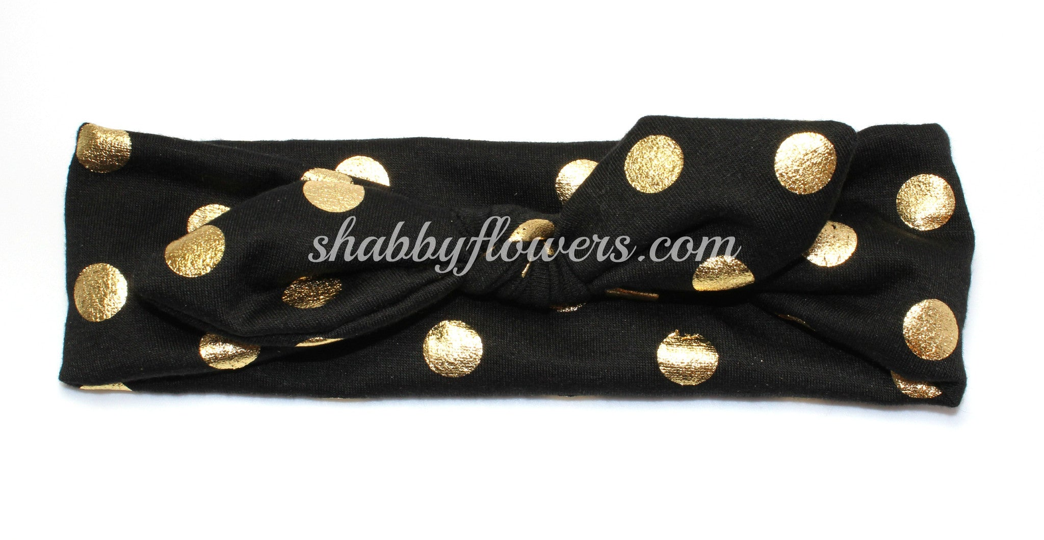 Knot Headband- Gold Foil Dots on Black - shabbyflowers.com
