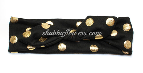 Knot Headband- Gold Foil Dots on Black - Small