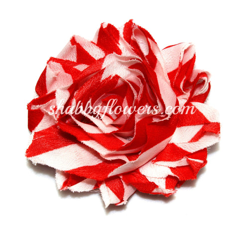 Shabby Flower - Red Chevron