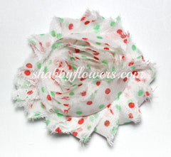 Shabby Chiffon Flower - Christmas Dots - 1 yard - shabbyflowers.com