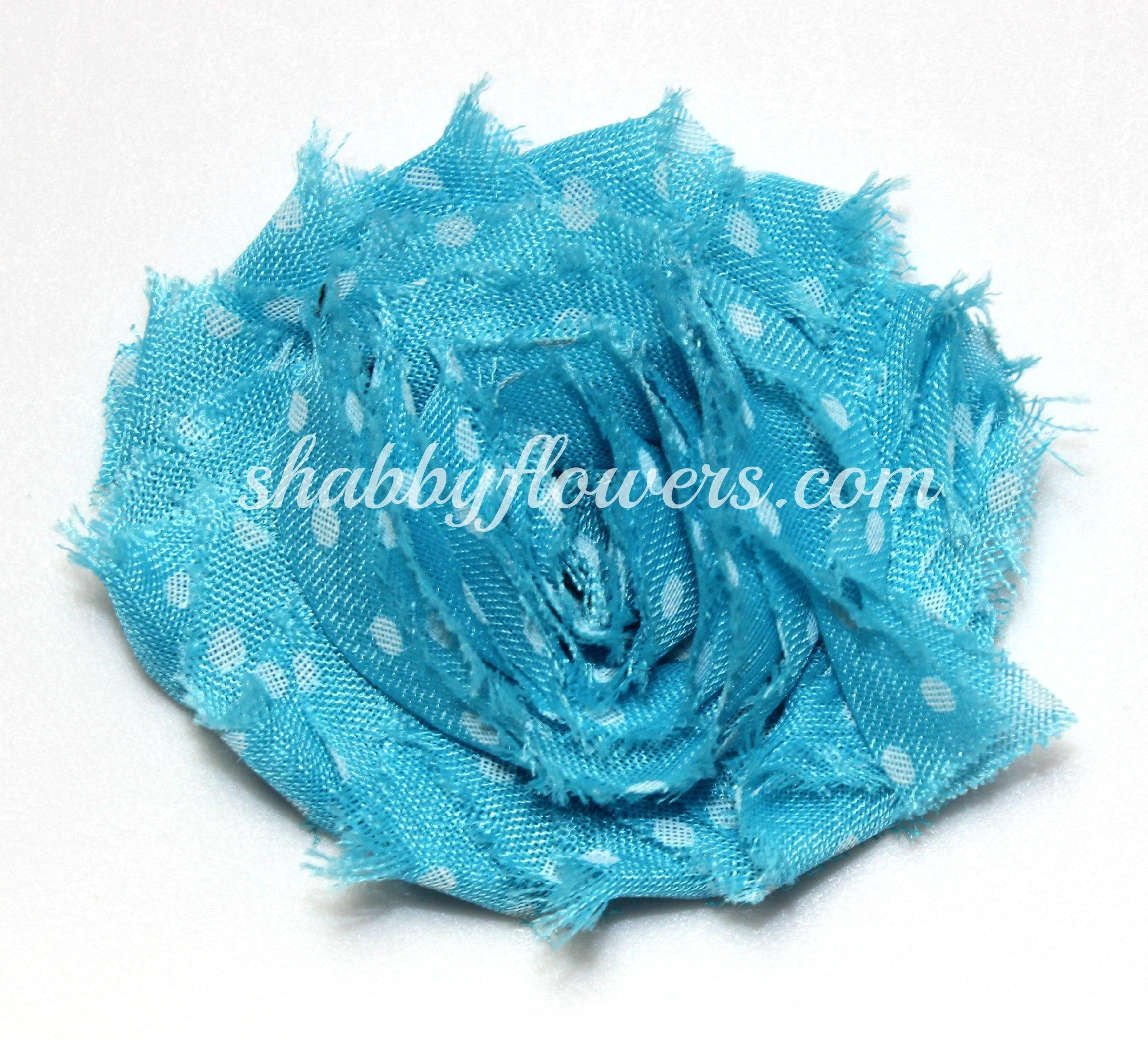 Shabby Chiffon Flower- Blue with White Dots - shabbyflowers.com