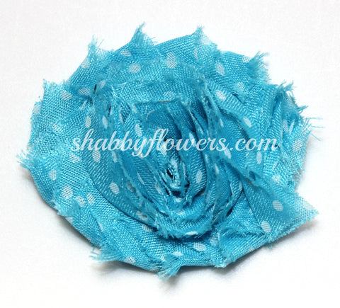 Shabby Chiffon Flower- Blue with White Dots