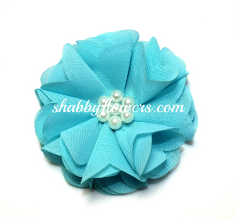 Chiffon Pearl Flower - Turquoise