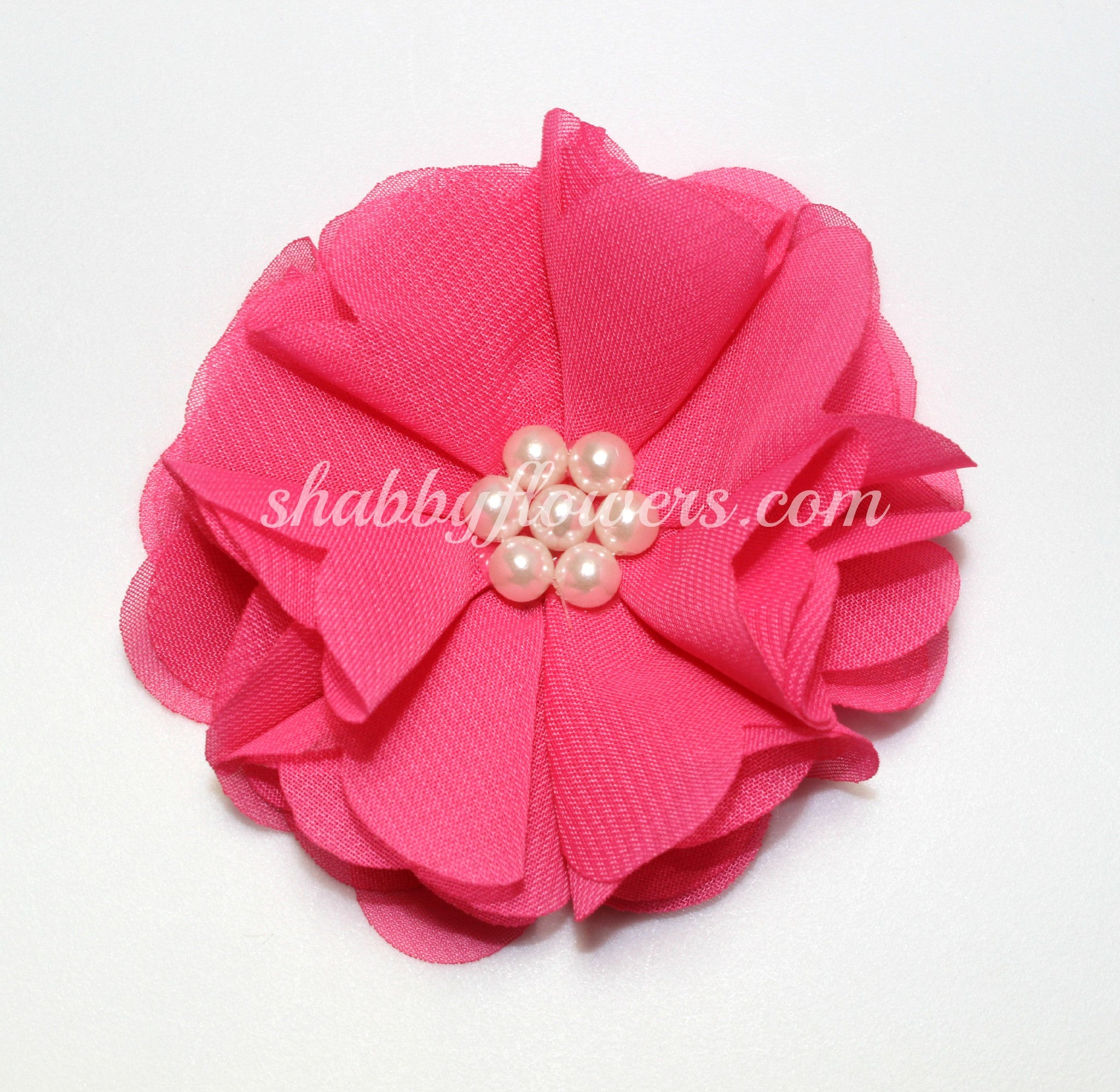 Chiffon Pearl Flower - Hot Pink - shabbyflowers.com