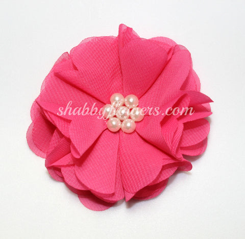 Chiffon Pearl Flower - Hot Pink