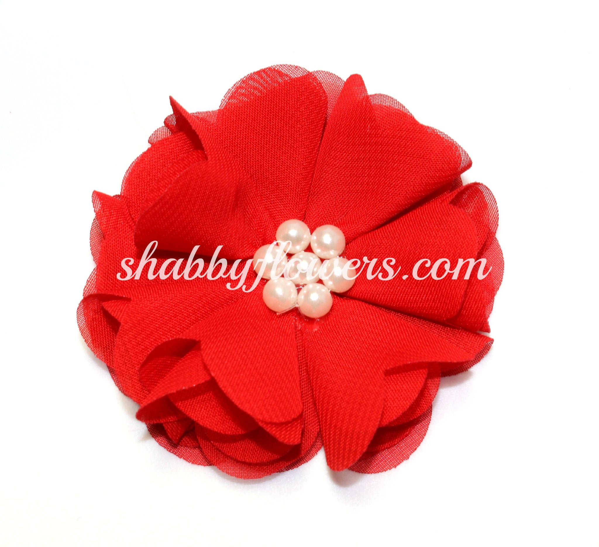 Chiffon Pearl Flower - Red - shabbyflowers.com